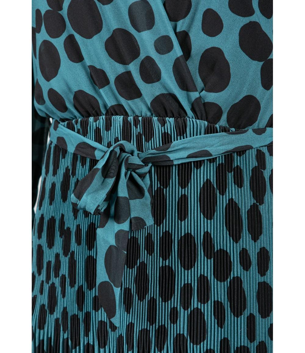 Emporium Dot Print Pleated V-Neck Dress in Teal & Black