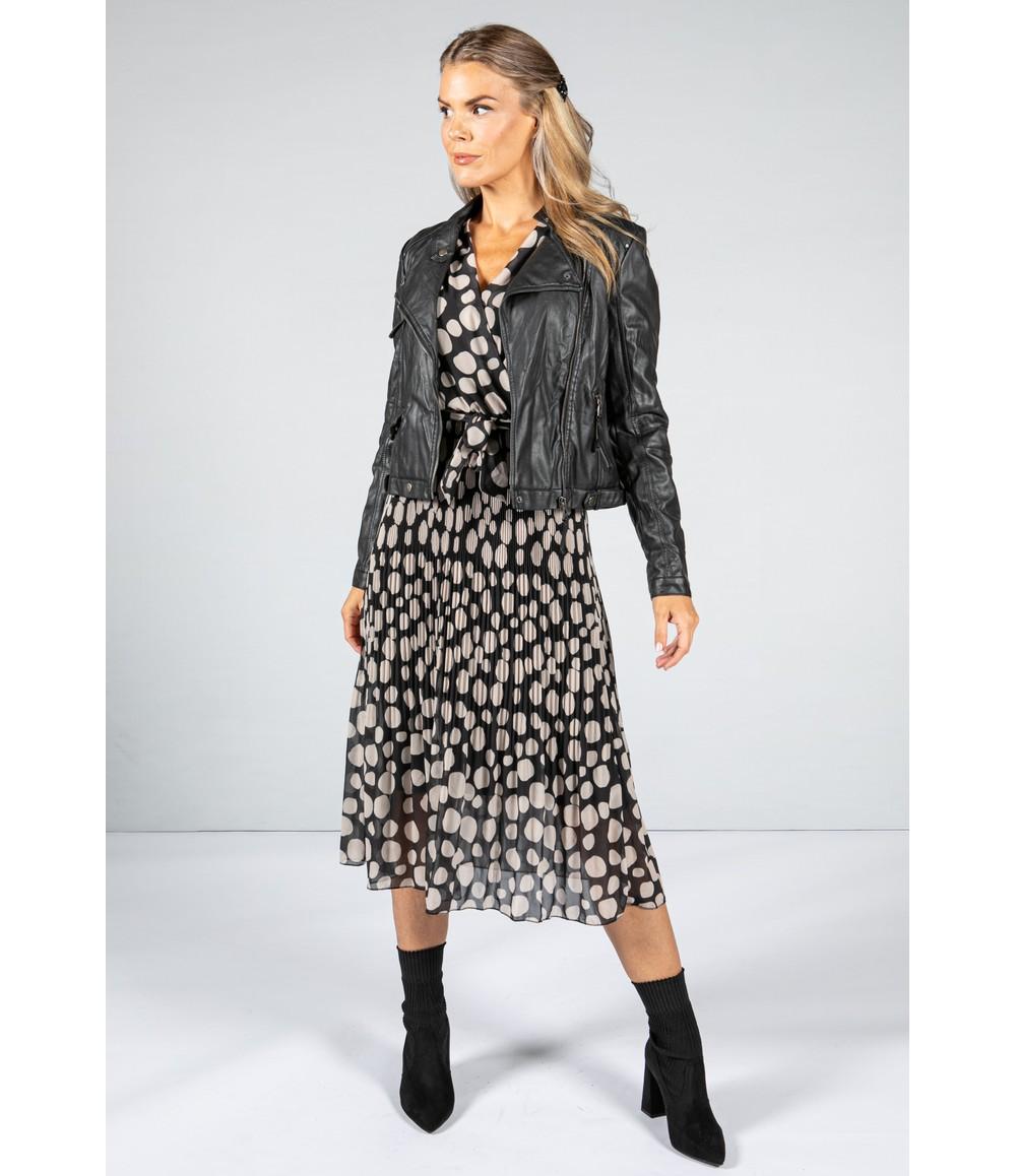 Emporium Dot Print Pleated V-Neck Dress in Black & Oat