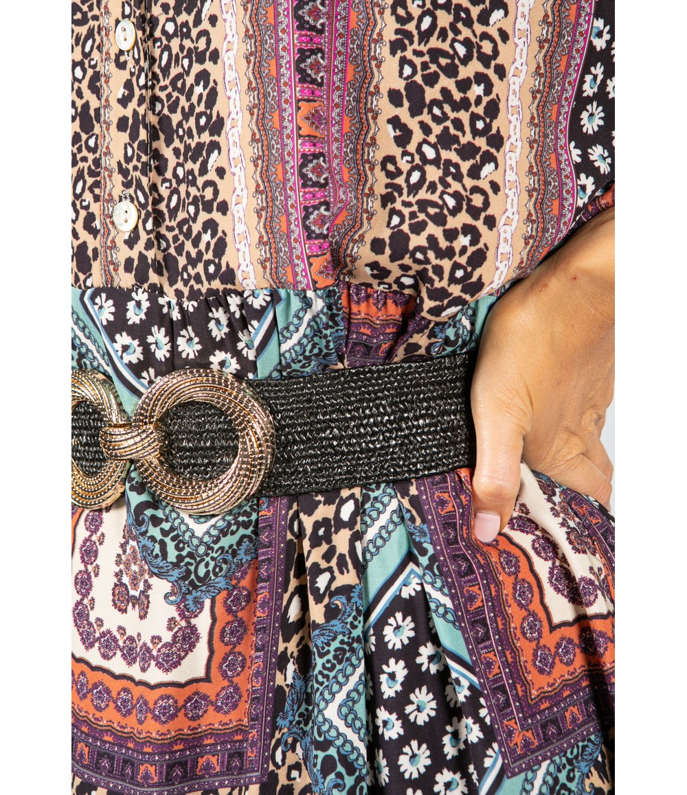 Pamela Scott Multi-Print Collarless Maxi Dress in Mint