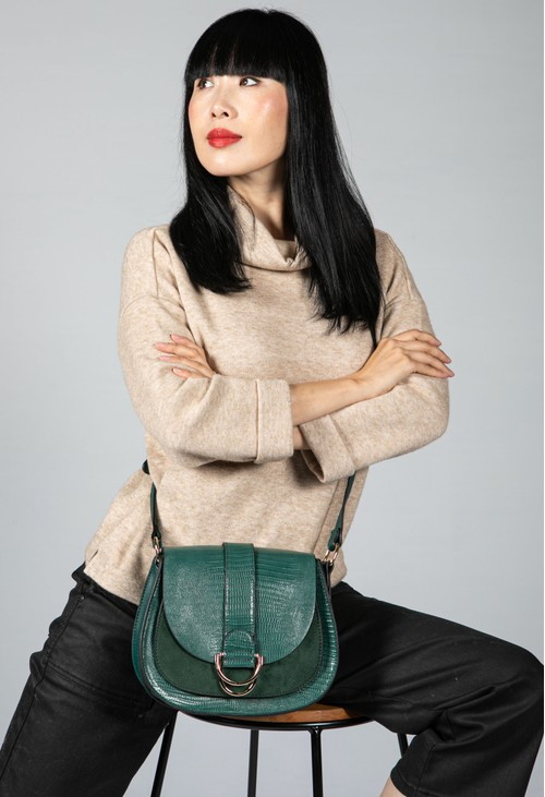 PS Accessories Faux Leather Forest Green Bag