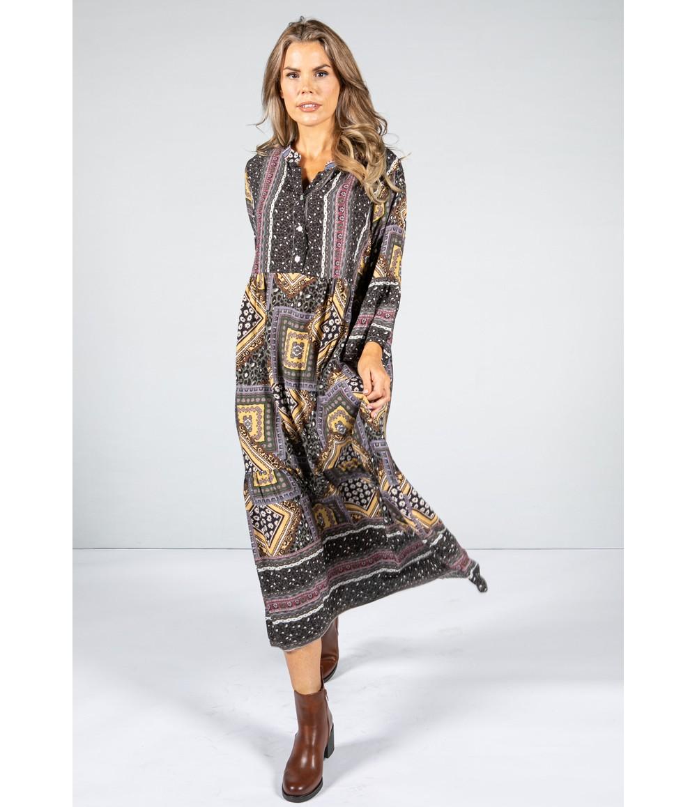 Pamela Scott Multi-Print Collarless Maxi Dress in Olive