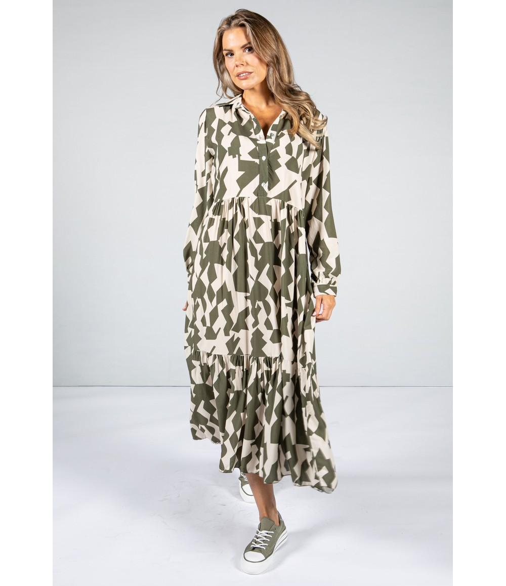 Pamela Scott Geometric Print Tiered Maxi Dress in Olive & Oat