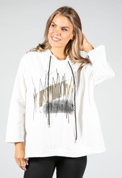 Zapara Metallic Motif Hoodie in Off White