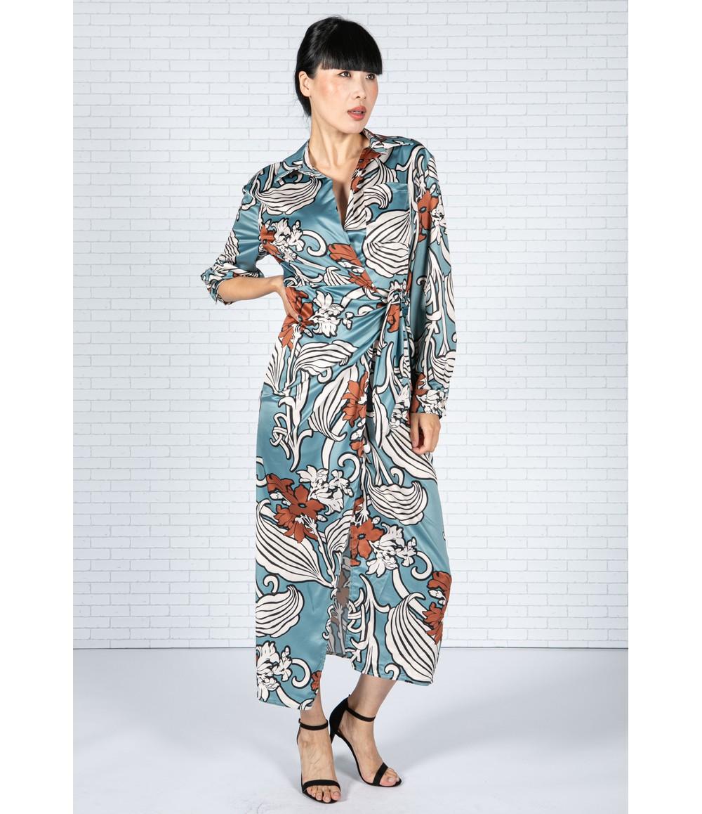 Zapara Blossom Print Silk Feel Dress in Deep Turquoise