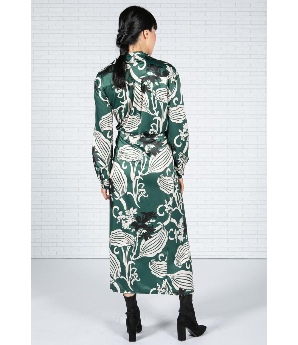 Zapara Blossom Print Silk Feel Dress in Forest Green