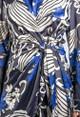 Zapara Blossom Print Silk Feel Dress in Deep Blue