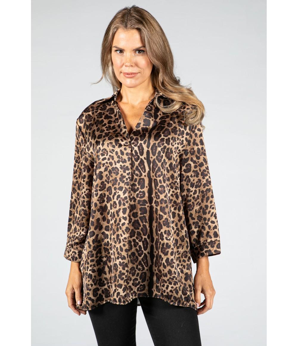 Zapara V-Neck Silk Feel Leopard Print Blouse