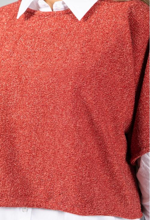 Sophie B Lurex Knit Pullover in Orange