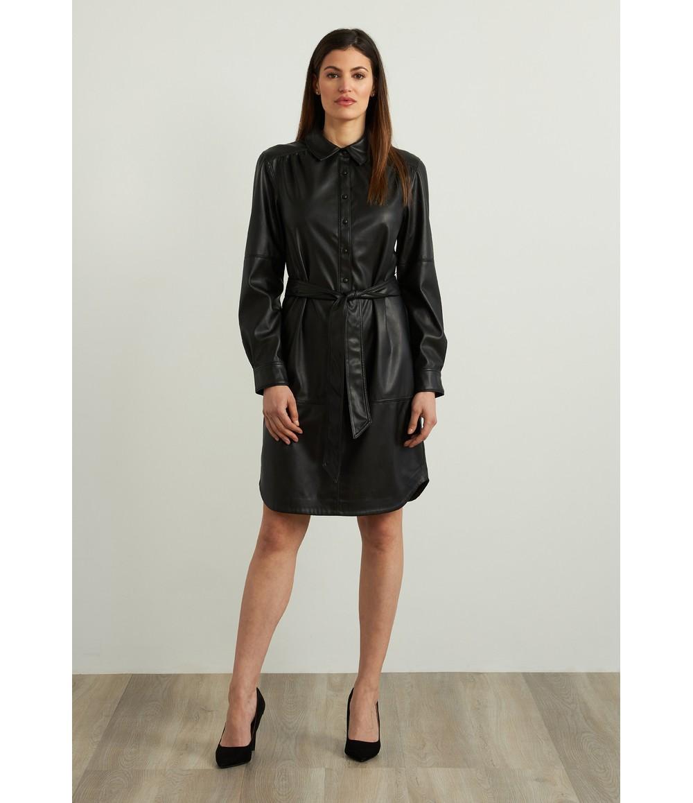 Joseph Ribkoff Faux Leather Shirt Dress Style