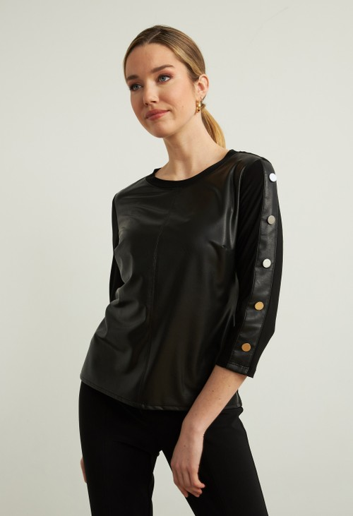Joseph Ribkoff Faux Leather Top with Stud Detail