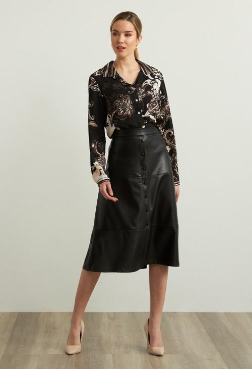 Joseph Ribkoff Faux Leather A-line Skirt