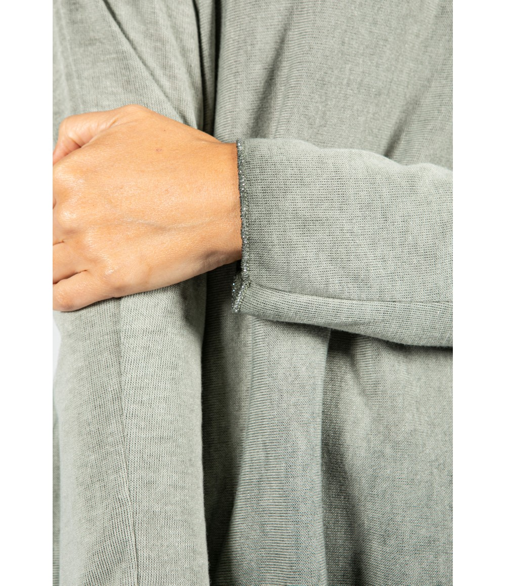 Zapara Soft V-Neck Long Sleeve Knit Top in Khaki