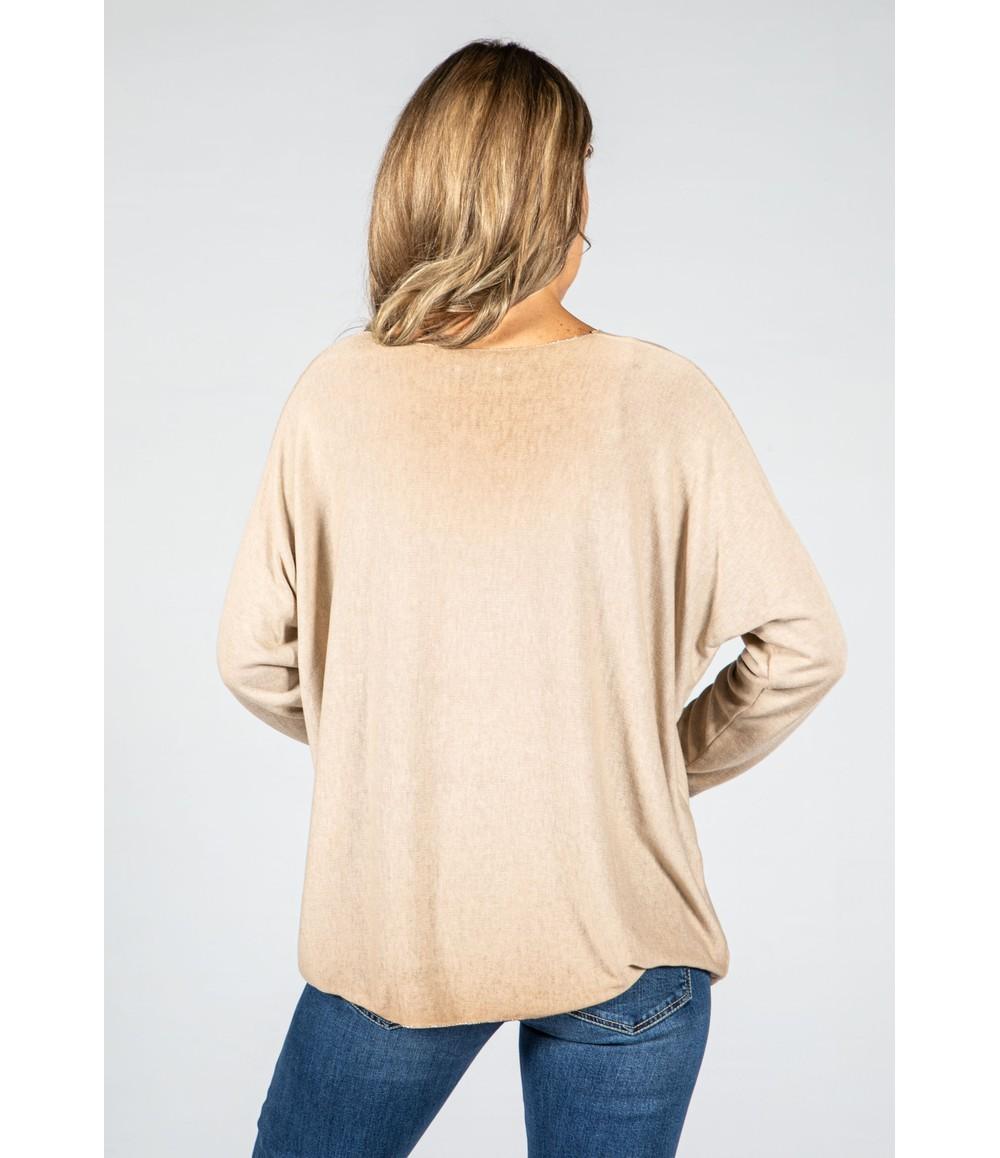 Zapara Soft V-Neck Long Sleeve Knit Top in Beige