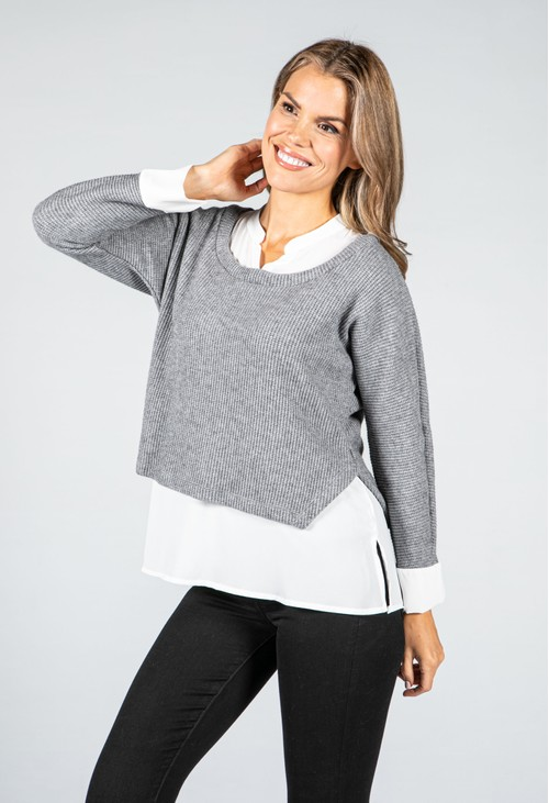 Sophie B Grey Knit Jumper With Attached Off-White Under Shirt