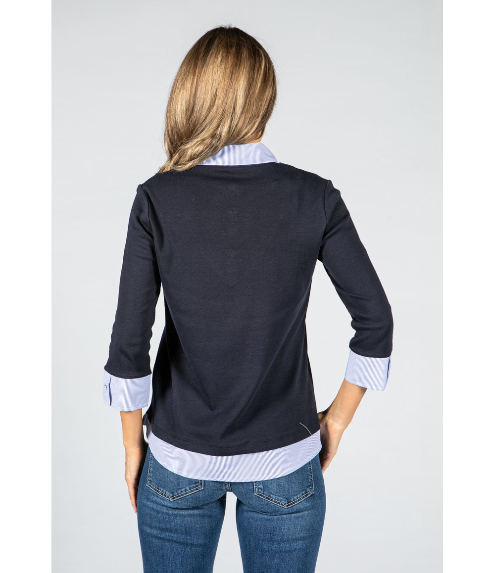 Twist Navy Long Sleeve Top with Attached Under Shirt Detail
