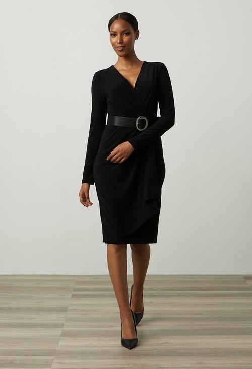 Joseph Ribkoff Wrap Dress in Black