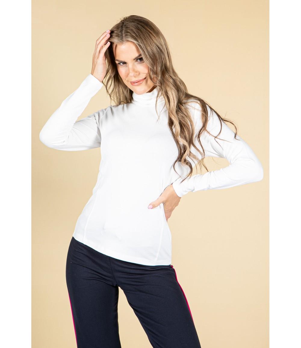 Pamela Femme Roll Neck Long Sleeve Top in Off White