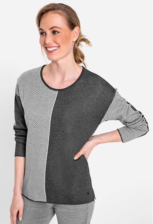 Olsen Long Sleeve Jewel Neck Chevron & Solid Jumper