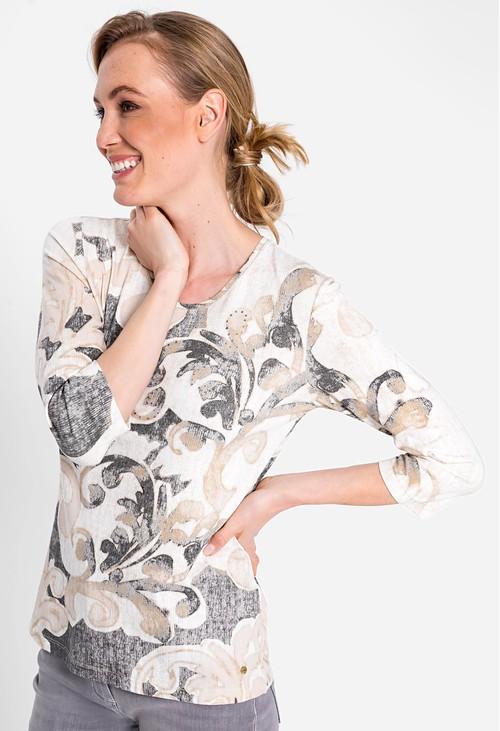 Olsen Organic Cotton Blend 3/4 Sleeve Filigree Print T-Shirt