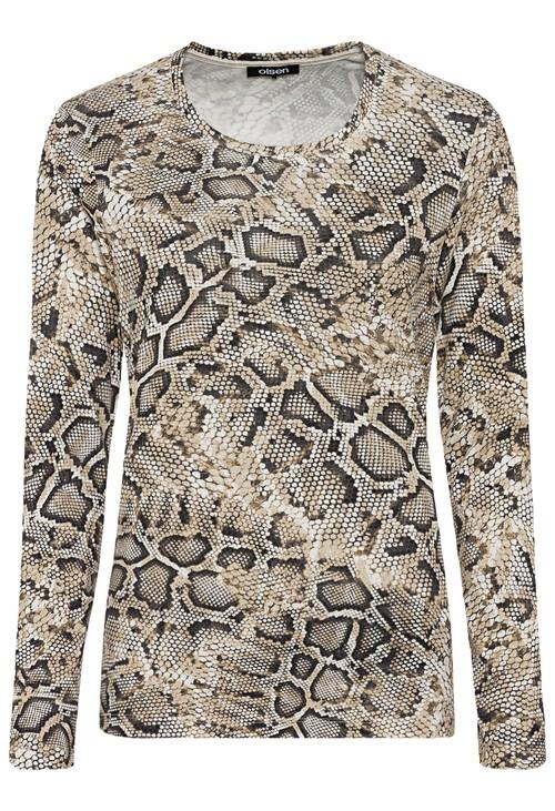Olsen 100% Cotton Long Sleeve Snake Print T-Shirt