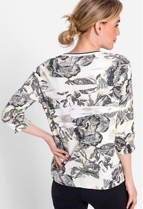 Olsen 100% Cotton 3/4 Sleeve V-Neck Printed T-Shirt