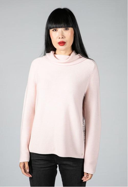 Monari Soft Pink Roll Neck Knit