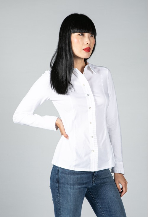 Tinta Style White Shirt with Pleated Placket