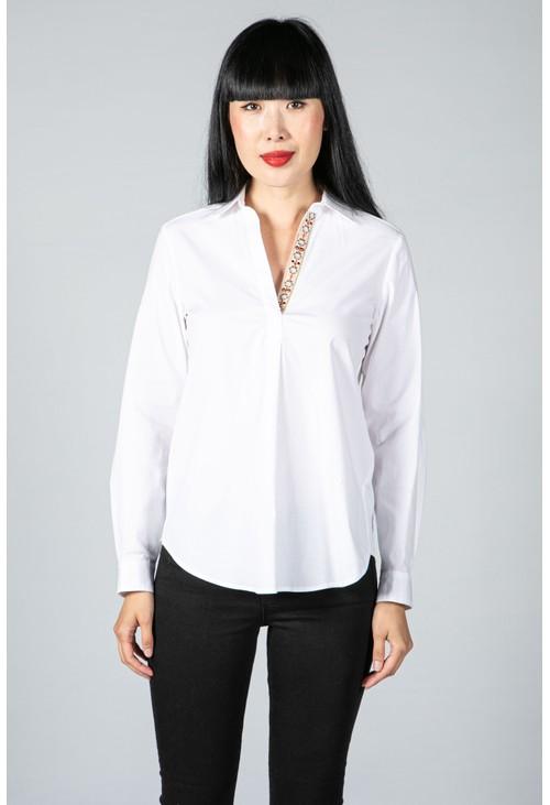 Tinta Style Floral Neckline White Shirt