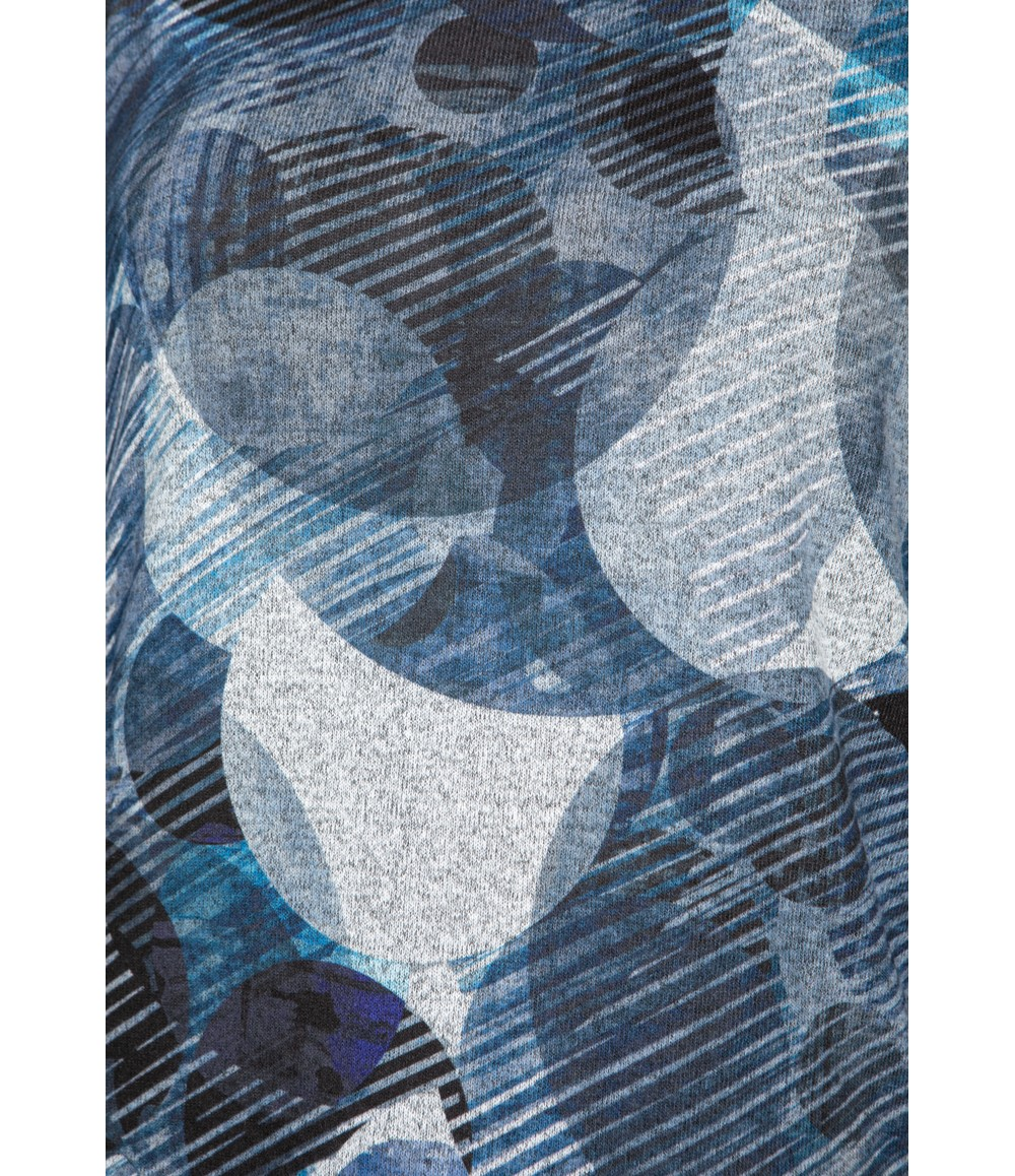 Twist Abstract Circle Print Top in Deep Blue