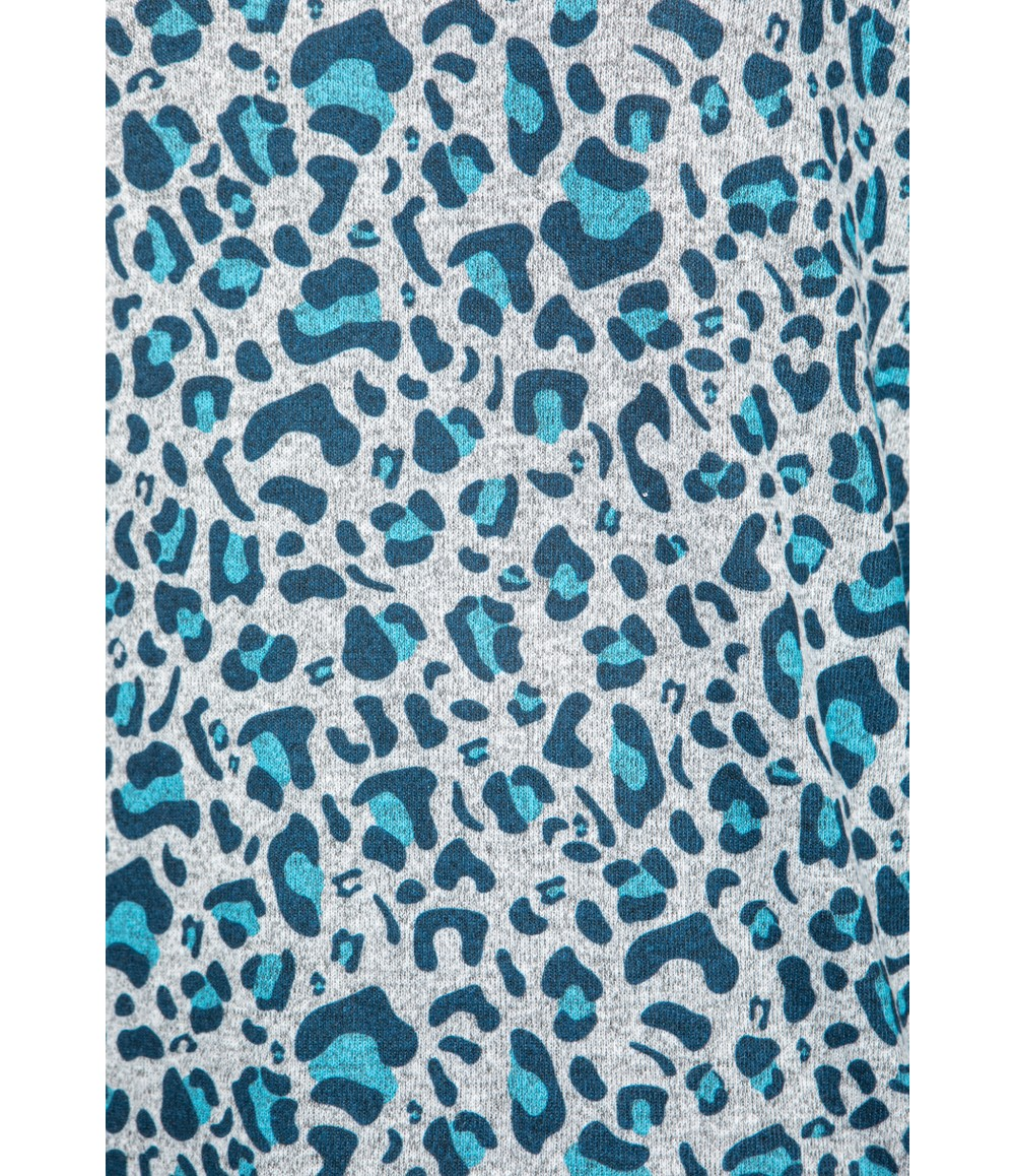 Twist Teal Leopard Print Top