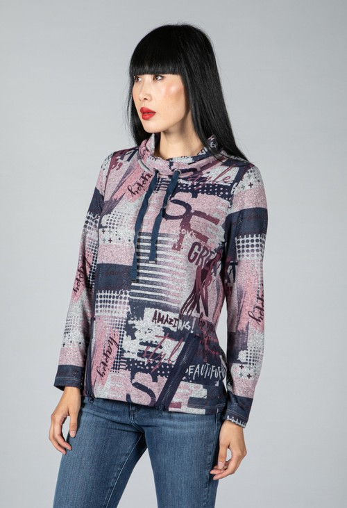 Twist Zip Front Lux Touch Knit Top