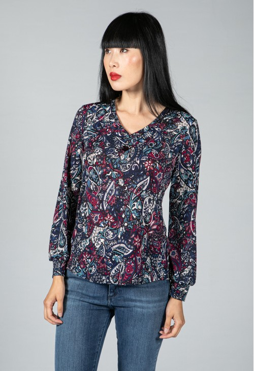 Sophie B Paisley Print Top with Necklace Detail