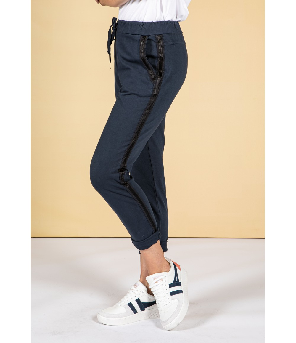 Zapara Navy Silk Feel Stripe Joggers