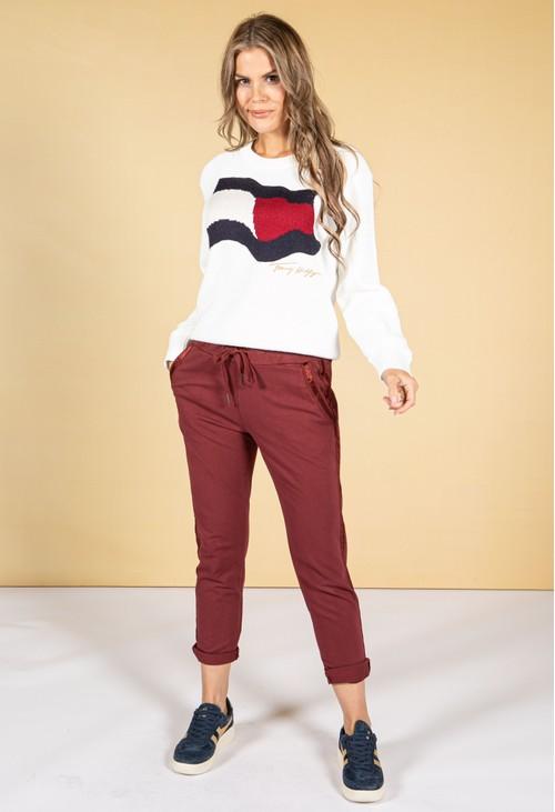 Zapara maroon Silk Feel Stripe Joggers