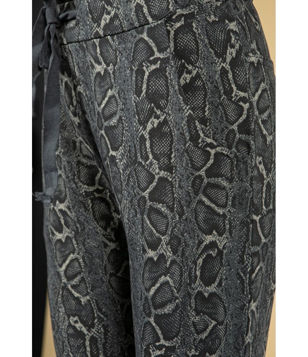 Zapara Snakeskin Print Joggers in Grey