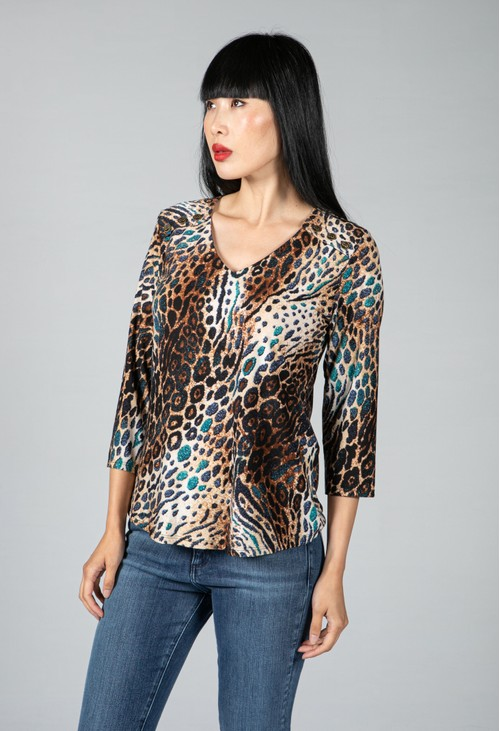 Sophie B Leopard Print Top with Button Detail