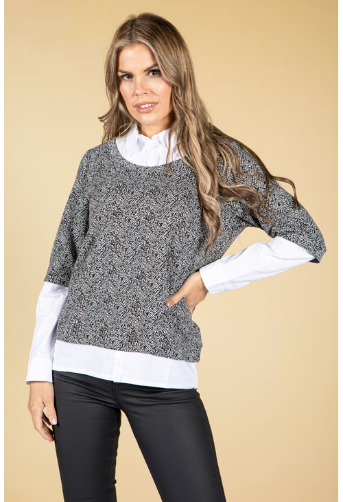Sophie B Black & White Print Knit with Attached Under Shirt