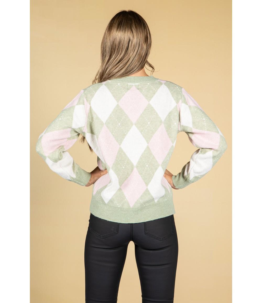 Pamela Scott Argyle Knit Jumper in Sage & Powder Pink