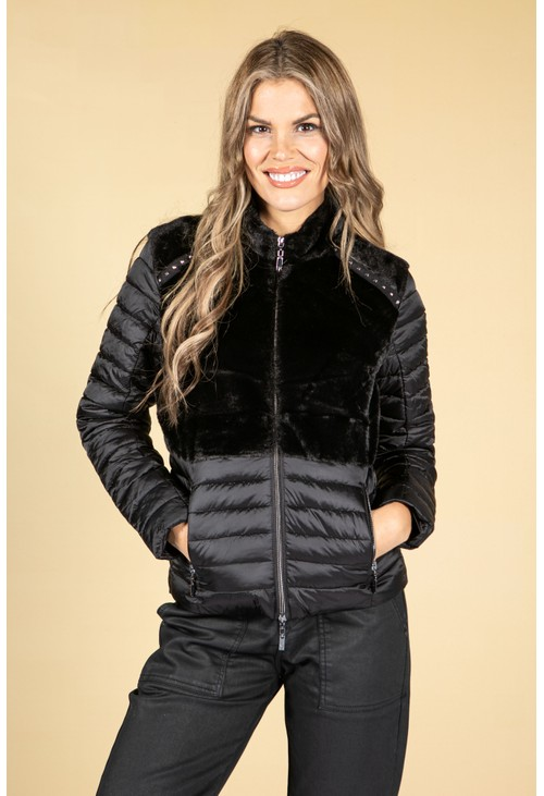 Monari Faux Fur Quilted Jacket in Black
