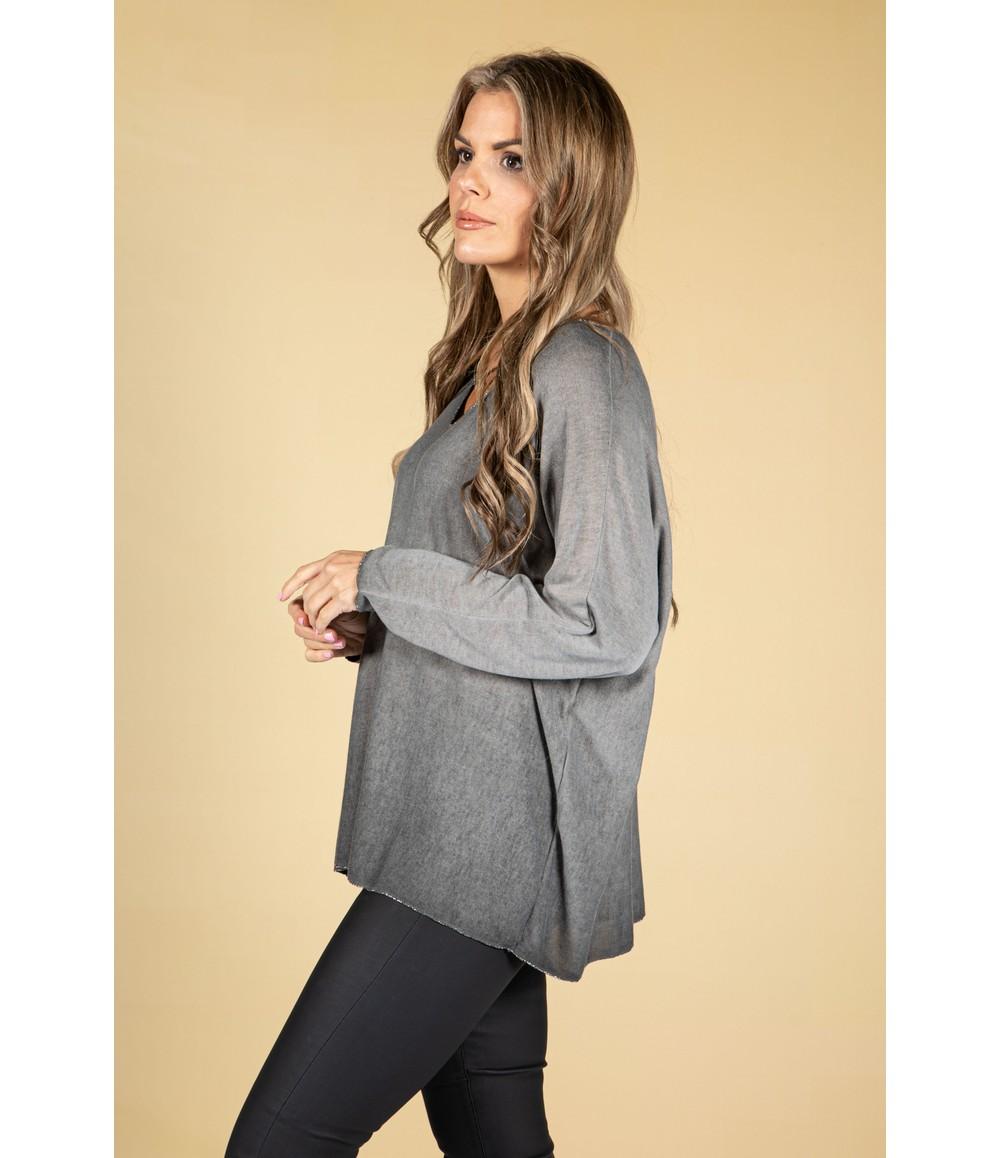 Zapara Soft V-Neck Long Sleeve Knit Top in Grey