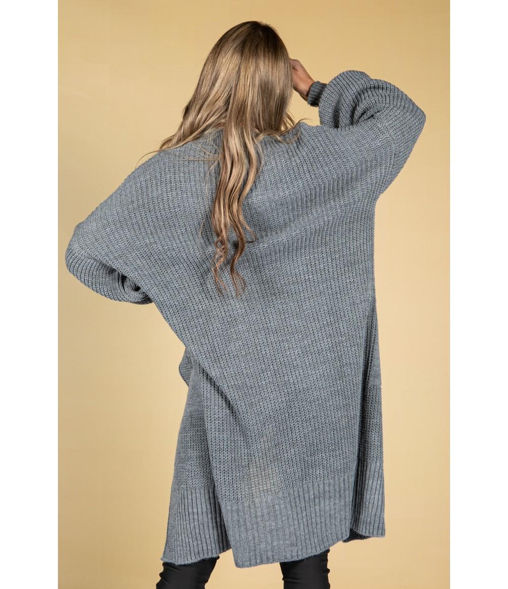 Zapara Cosy Chunky Knit Longline Cardigan in Cool Grey