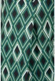 Zapara Diamond Print V-Neck Blouse in Forest Green