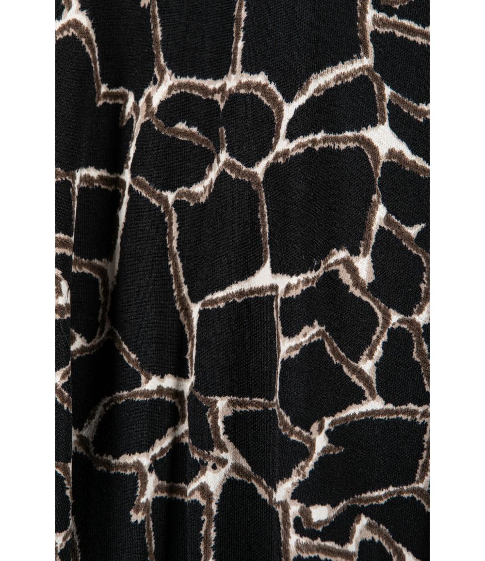Zapara Smocking Mock Neck Printed Long Sleeve Top in Black