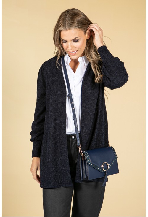 Sophie B Open Front Knit Cardigan in Navy