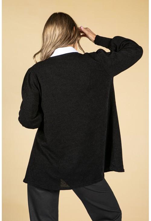 Sophie B Open Front Knit Cardigan in Black