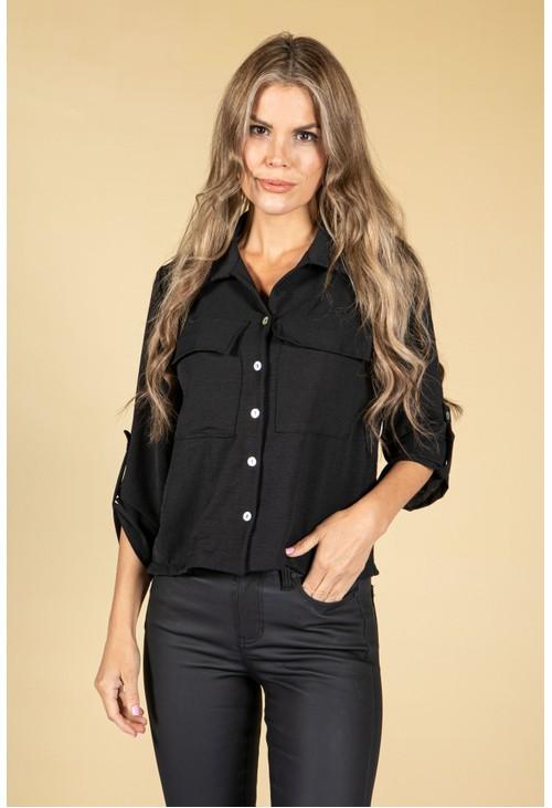 Pamela Scott Cropped Pocket Blouse in Black