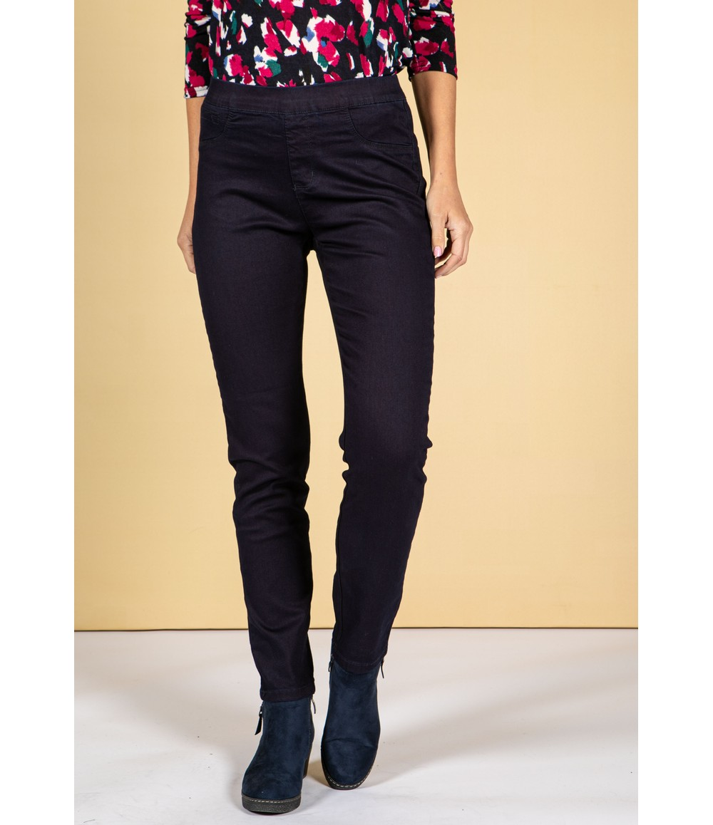 Twist Easy Pull On Navy Wash Jeans
