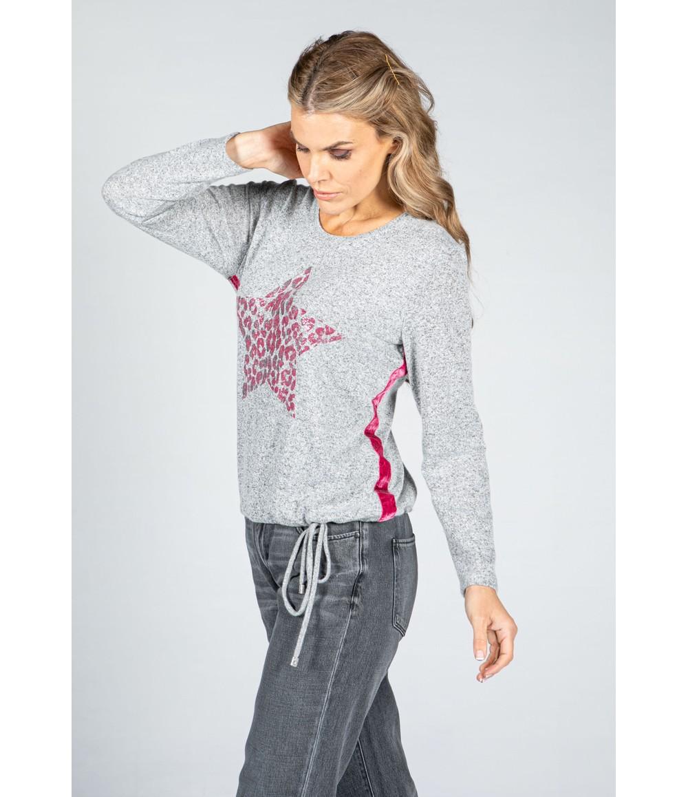 Twist Animal Print Star Fine Knit Jumper n Grey & Magenta