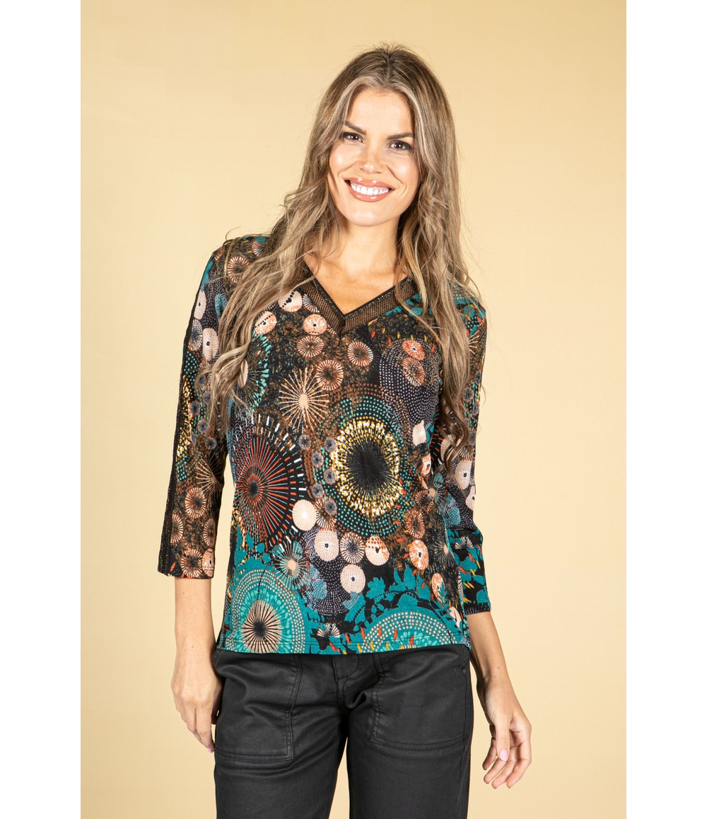 Sophie B Abstract Circle Print Lace Detail V-Neck Top