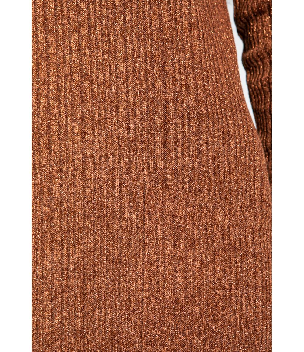 Zapara Lurex Knit Midi Dress in Bronze